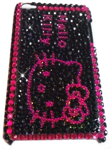 ([WG] HELLO KITTY Apple iPod Touch 4th Generation 4G iTouch 4 Full Diamond Rhinestones Bling Jeweled BACK PIECE Protector Case (Black Stones) + FREE WirelessGeeks247 Detachable Neck Strap / Lanyard )