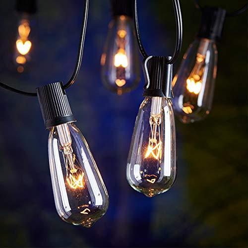 OWENDOU 20Ft Outdoor Patio String Lights,Set of 20 Glass ST40 Edison Style Bulb String Lights Garden/Backyard Party/Wedding Indoor String Lights(Plus 1 Extra Bulbs)-Black (Lights Ft String 20)