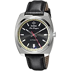 Zodiac Men's 'Seadragon' Swiss Automatic Stainless Steel and Leather Casual Watch, Color:Black (Model: ZO9910)