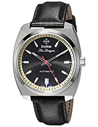 Zodiac Men's 'Seadragon' Swiss Automatic Stainless Steel and Leather Casual Watch, Color:Blue (Model: ZO9910)