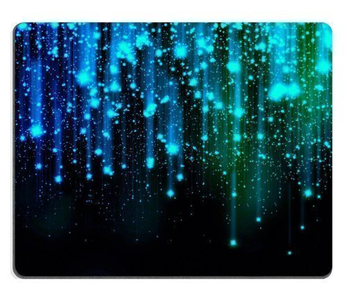 Abstract Lights Blue Line Sparkles Mouse Pads Customized Made to Order Support Ready 9 7/8 Inch (250mm) X 7 7/8 Inch (200mm) X 1/16 Inch (2mm) High Quality Eco Friendly Cloth with Neoprene Rubber Luxlady Mouse Pad Desktop Mousepad Laptop Mousepads Comfortable Computer Mouse Mat Cute Gaming Mouse pad