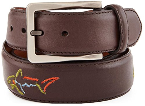 Greg Norman Mens Leather Belt W/Shark Buckle Brown 40 Mogul Dash