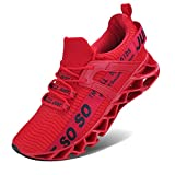 COKAFIL Mens Walking Shoes Running Athletic Fashion Tennis Blade Sneakers, E-red, 9