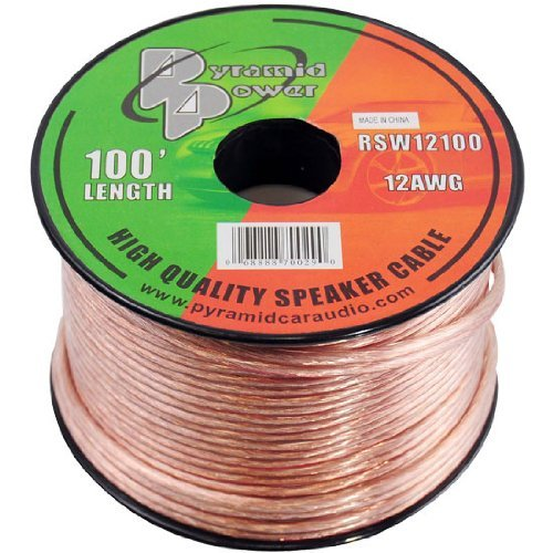 100ft 12 Gauge Speaker Wire - Copper Cable in Spool for Connecting Audio Stereo to Amplifier, Surround Sound System, TV Home Theater and Car Stereo - Pyramid RSW12100 by Pyramid