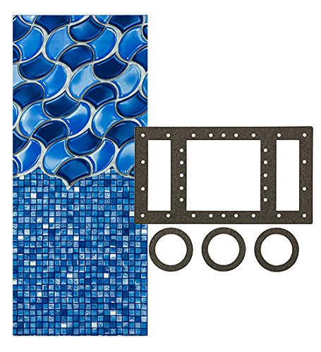 Smartline Waves of Poseidon 12-Foot-by-24-Foot Oval Liner | Overlap Style | 48-to-52-Inch Wall Height | 25 Gauge | Designed for Steel Sided Above-Ground Swimming Pools | Universal Gasket Kit - Doughboy Pool Liners