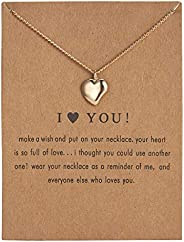 Gold Heart Love Pendant Necklace Dainty Simple Heart Pendant Necklace for Girls Women Anniversary Valentines D