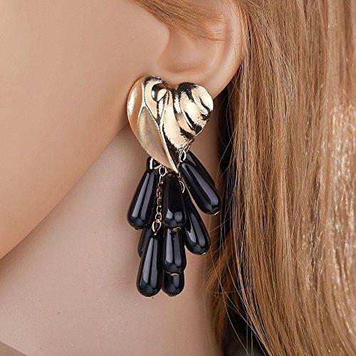 Eternity J. 2 Pairs Statement Earrings Heart Shaped Beads Tassel Dangle Drop Stud Earrings for Women Girls by Eternity J. (Image #4)