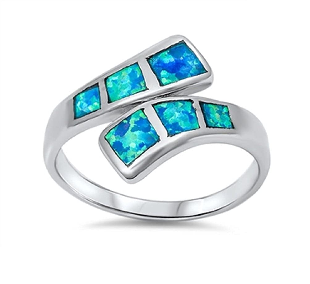 CloseoutWarehouse Six Princess Cut Journey Staccato Ring Simulated Opal 925 Sterling Silver