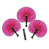 Fun Express Inc. 12 Pink Perfectly Paris Folding Fan Party Favors, Giveaways,Gift Bag, Hot Pink Paris Fan - A Très Chic Party Favor