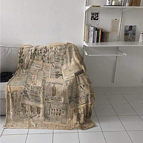 maisi Antique Warm Microfiber All Season Blanket Newspaper Pages with Advertising and Fashion Magazine Woman Edwardian Publicity Image Print Artwork Image 60x50 Inch Cream
