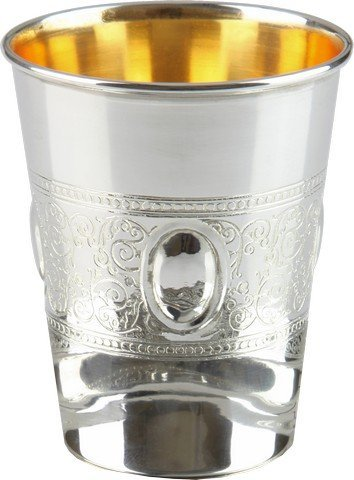 A&M Judaica 58055T 925 Sterling Silver Coated Kiddush Cup with Eye Belt Design, 5.5 oz & 3 in. (Kiddush Cup Sterling Silver)