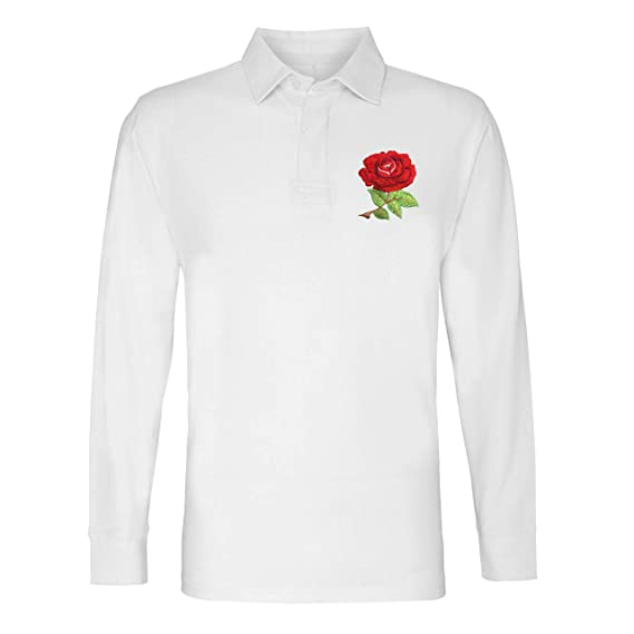 9ccbc86e Mens Premium Vintage England Rose Classic Long Sleeve Rugby Shirt