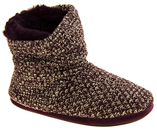 51ez1i1oWAL - Coolers Womens Plum Warm Knitted Winter Fur Lined Slipper Boots 9-10 B(M) US