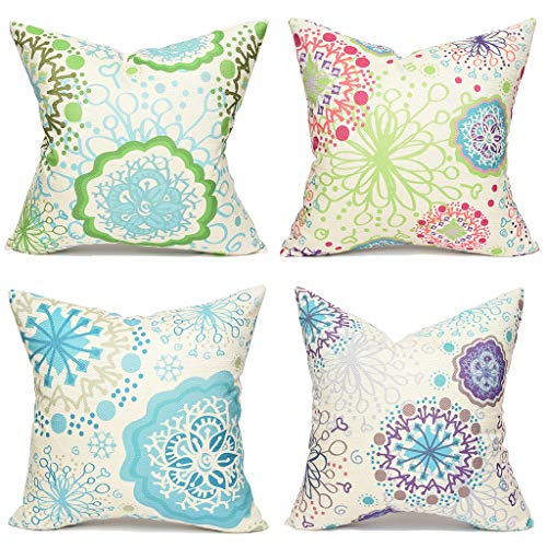 Yinnazi Abstract Flower Pattern Throw Pillow Cover