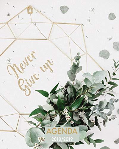 Agenda 2018-2019 Never Give Up: Organizador Y Planificador Con Citas de Inspiración, Tamaño 20 X 25 CM, Diseño Mandala...