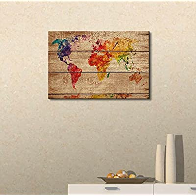Unbelievable Object of Art, Original Creation, Abstract Colorful World Map on Vintage Wood Background