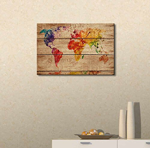 Abstract Colorful World Map on Vintage Wood Background