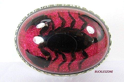 Letter Love Fashion Scorpion Real Insect Belt Buckle Men Women Lucky Karma Pink Glitter Western (Scorpion Buckle)
