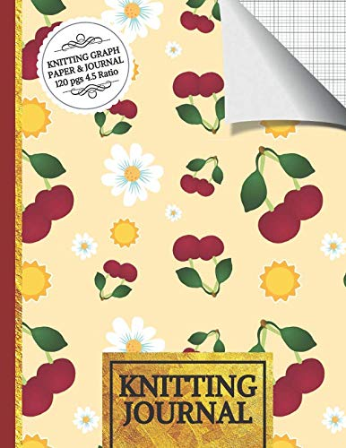 Knitting Journal: Cherries and Flowers Knitting Journal to Write in, Half Lined Paper, Half Graph Paper (4:5 Ratio) Knitting Gifts For Women (Weaving Paper Basket Patterns)