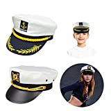 Boat Captain Hat, Sailor Hat Embroidery Boat Ship Sailor Hats Brooch Sea Cap Navy Costume Accessory, 3PCS