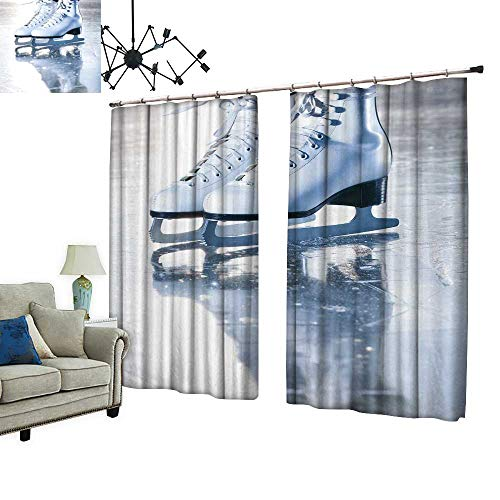 PRUNUS Room Darkening Curtain with Hooked dramati Blue Portrait Shot ice Skates Thermal Insulated Blackout Window Curtain,W96.5 ()
