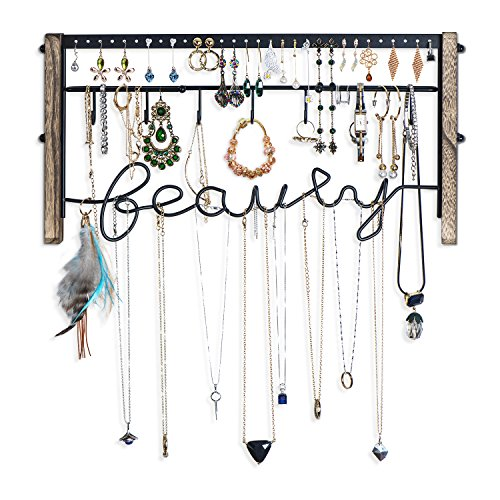 Love-KANKEI Jewelry Organizer Wall Mount - Black Metal & Rustic Wood Necklace Organizer Holder for Earrings Rings Bracelets and Necklaces by Love-KANKEI (Image #4)