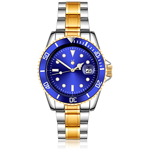 Dial Dive (Orange Men's Watch Gold Plated Two Tone Stainless Steel Blue Dial Dive Quartz Analog Watch with Date)