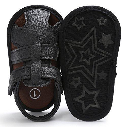 Sandalias De Bebe,BOBORA Prewalker Zapatos Primeros Pasos Para Bebe Sandalias Del Verano Del Nino Del Bebe Del Hueco De La PU negro