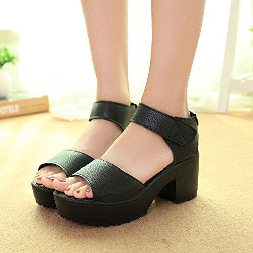 Bouche D't Sandales Gateau Girl Poisson Noir Unie Couleur Cake Chaussures 41 Femmes Yalanshop Pour 8tCqwxB