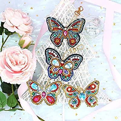 Diamond Painting Kits DIY Key Chian Full Drill Backpack Shoulder Bag Accessories Charm PendantTeenager Kids Easy DIY Toy Beautiful Butterfly,6 Pack: Toys & Games