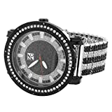 Fully Iced Out Watch Silver Tone Genuine Diamonds 0.05 Carat Stainless Steel Back
