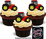 12 x Red Tractors - Fun Novelty Boys Birthday PREMIUM STAND UP Edible Wafer Card Cake Toppers Decoration