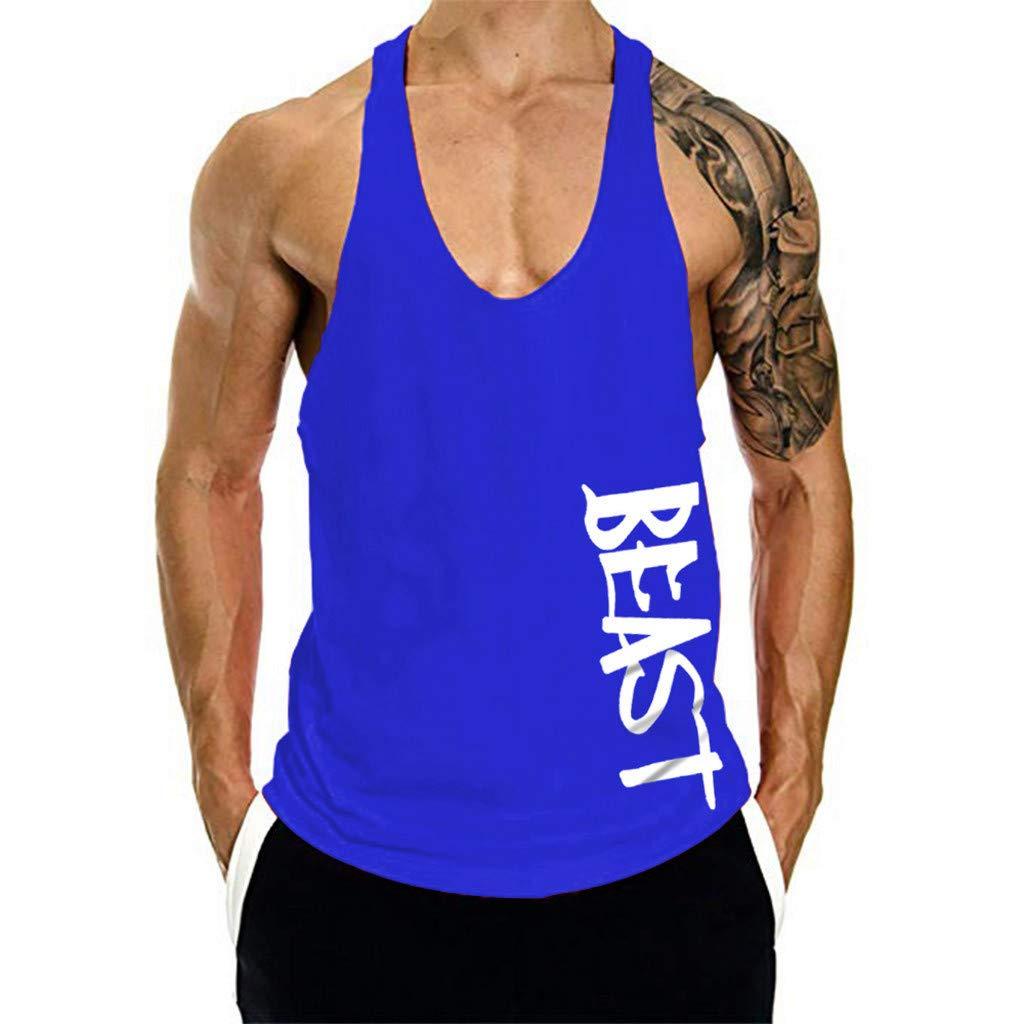 miqiqism Men Hipster Letter Print Muscle Tank Tops Cotton Lightweight Bodybuilding Gym Workout Fitness Stringer Vest T Shirt (Blue, S)