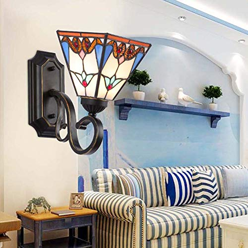 Tiffany Style Wall Sconce Light, Mediterranean Stained Glass Bathroom Mirror Headlight, LED -