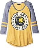 NBA Indiana Pacers Adult Women Ladies Tri Blend Jersey 3/4 sleeve with sleeve stripes,XL,Tri Natural Gold