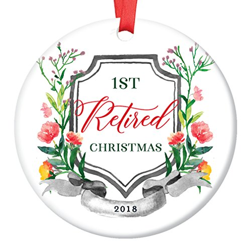 2018 Christmas Tree Ornament 1st First Holiday Season Job Retirement Retired From Work Ceramic Collectible Keepsake Man Woman Retiring Party Present 3 Flat Porcelain with Red Ribbon & Free Gift Box
