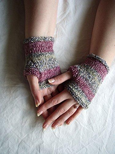 Stripe Gauntlet - Handknit Fingerless Glove Plum Grey Blue Green Stripe