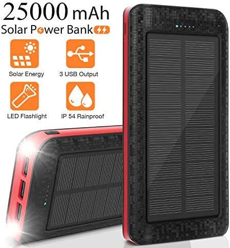 AMAES Cargador Solar Móvil 25000mAh Power Bank Batería Externa Banco de Energía Portátil 5V / 2.1A Cargador Rápido de Teléfono Celular, Linterna, IPX5, Ideal para Viajes, Camping, Emergencia etc: Amazon.es: Electrónica