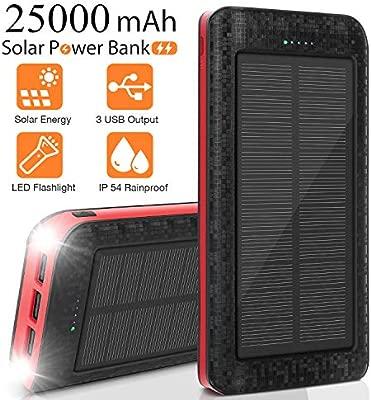 Sendowtek Cargador Solar Móvil 25000mAh Power Bank Batería Externa Banco de Energía Portátil 5V / 2.1A Cargador Rápido de Teléfono Celular, Linterna, ...