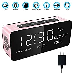 Soundance Electric Digital LED Alarm Clock Wireless FM Radio Portable Bluetooth Speaker with USB Built-in Mic for Bedroom Bedside Office Desk iPhone Android Laptop Desktop Computer, A10+Charger Rose