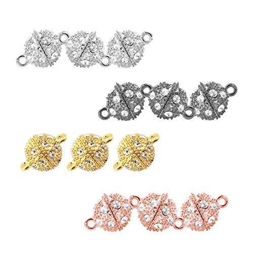 REVEW 12pcs Rhinestone Round Ball Brass Magnetic Clasps Crystal Pave Ball Magnetic Beads Clasp for Bracelet Necklace Jewelry (Mixed 10mm-12)