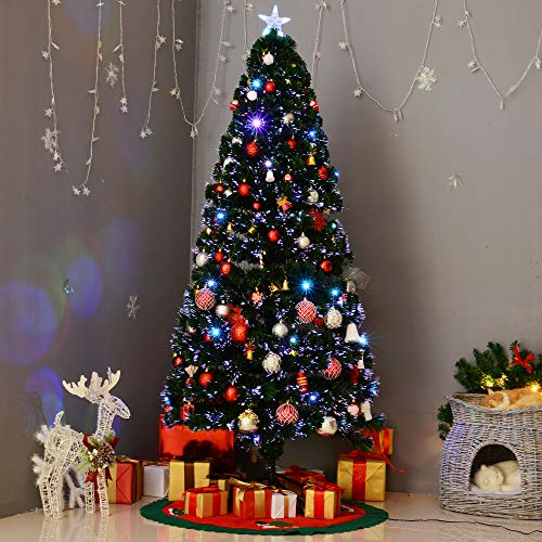 Where To Buy A Pre Lit Christmas Tree: HomCom 6' Aritifical Pre-Lit Fiber Optic Holiday Christmas
