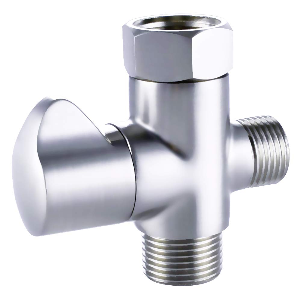 """KES SOLID Brass T-adapter with Shut-off Valve, 3-way Tee Connector for Handheld Bidet 15/16"""" and G 1/2 Polished Chrome, K1018-CH"""