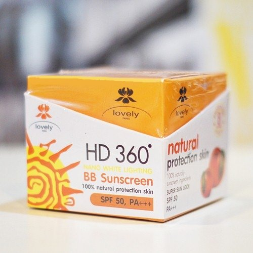 Lovely Extra Super Sun Lock SPF 50 PA+++ HD360 BB SunScreen 100% Natural Protection Skin 18 G. [Get Free Tomato Facial Mask]