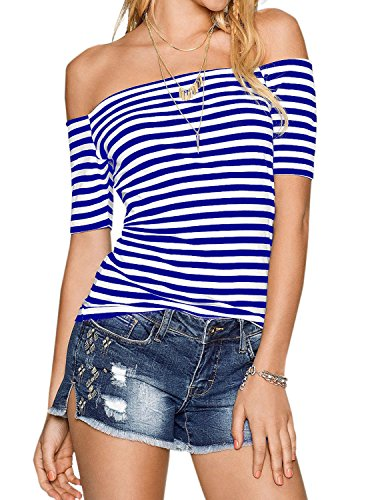 Womens Blue and White Short Sleeve Sexy Off The Shoulder Striped Shirt Blouse Tops Royal Blue -