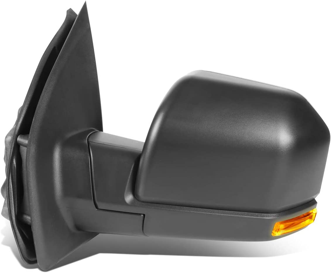 Black DNA MOTORING TWM-058-OE-T222-BK-CL-L Powered+Heated+LED Signal Factory Style Side Mirror Right for 15-18 Ford F150