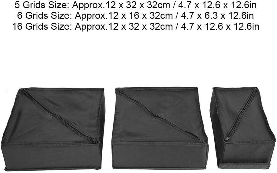 3 Piezas Cremallera Ropa Interior Calcetines Organizador Caja de Almacenamiento Soporte Divisor Contenedor para Ropa Ropa Interior Bicaquu Ropa-Cajones-Organizadores Negro