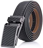 Marino Avenue Men's Genuine Leather Ratchet Dress Belt with Linxx Buckle - Gift Box (Twill weave - Black, Adjustable from 28' to 44' Waist)