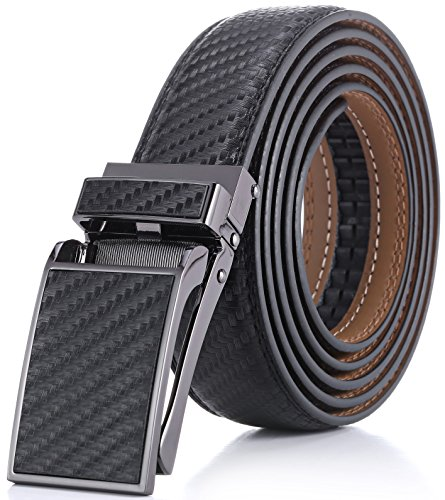 Embossing Trim - Marino Avenue Men's Genuine Leather Ratchet Dress Belt with Linxx Buckle - Gift Box (Black Weave Design Leather Buckle with Black Leather, Adjustable from 28