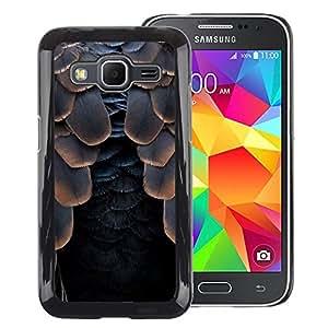 A-type Arte & diseño plástico duro Fundas Cover Cubre Hard Case Cover para Samsung Galaxy Core Prime (Bird Feathers Raven Black Halloween)